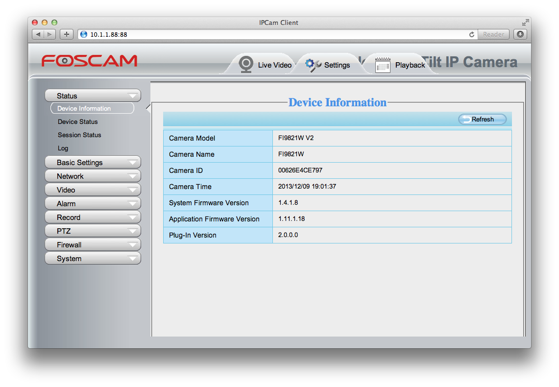 How to configure a Foscam FI9821W V2 from Mac or Linux