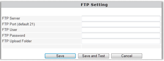 FTP settings page
