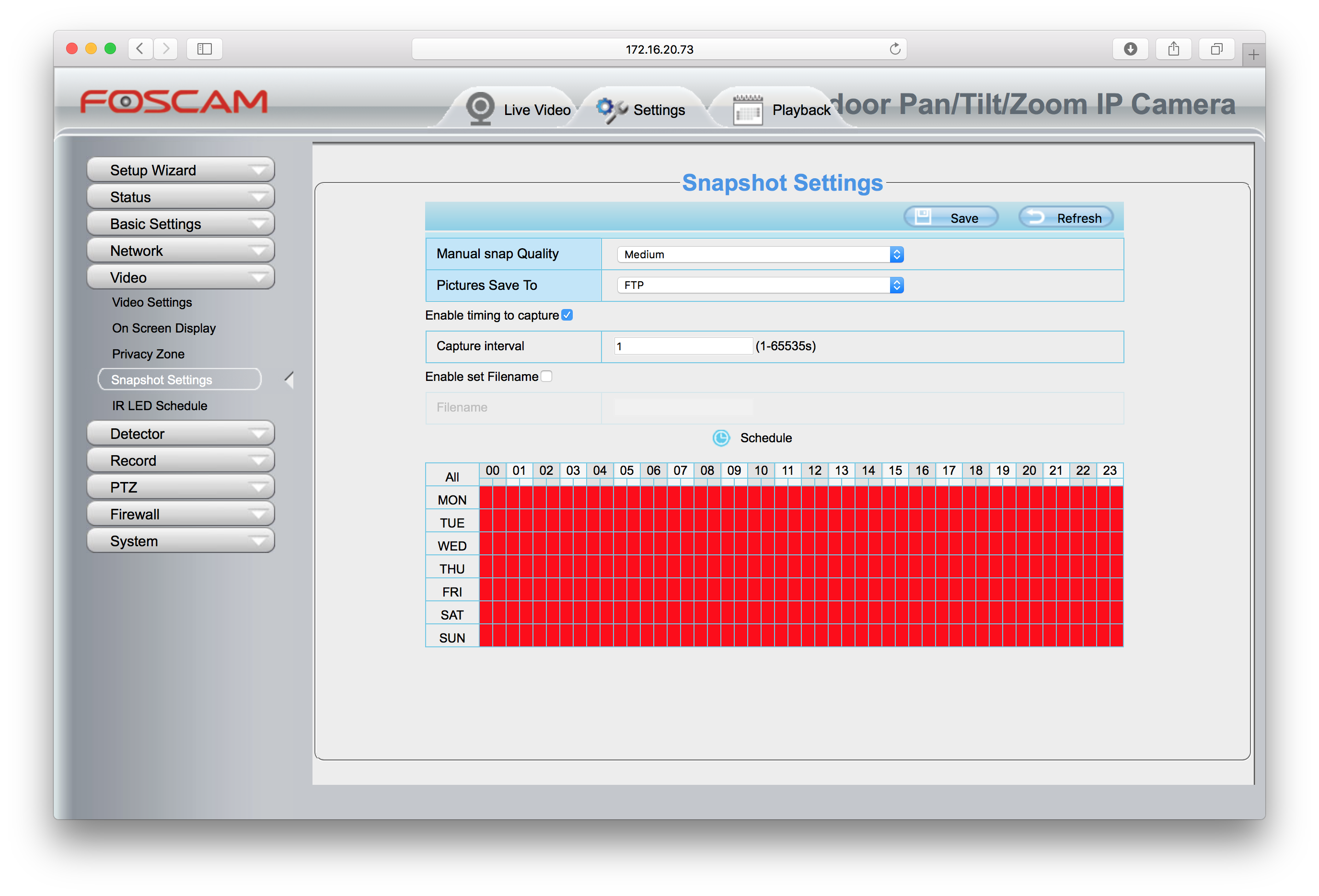 How to configure a Foscam FI9900P Outdoor Camera from Mac or